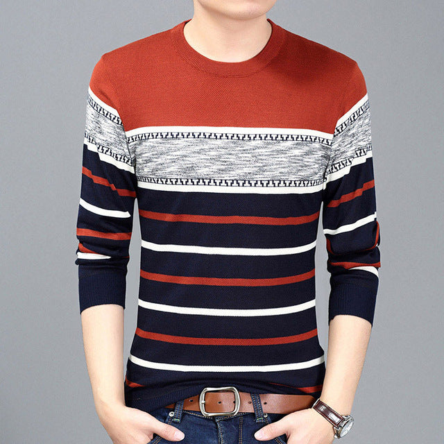 New Autumn Winter Men Striped Thin Pattern Slim Fit Casual Knitted Sweater
