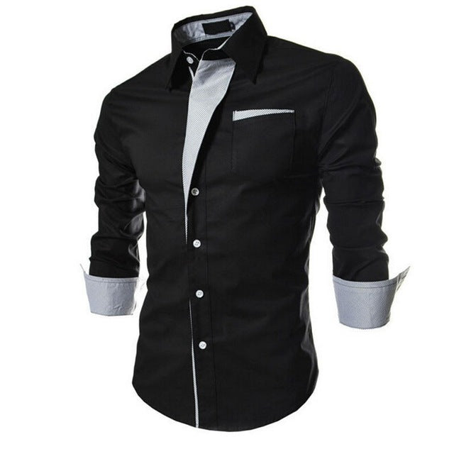 Men Long Sleeve Turn-down Collar Single Breasted Striped Slim Fit Casual Shirt