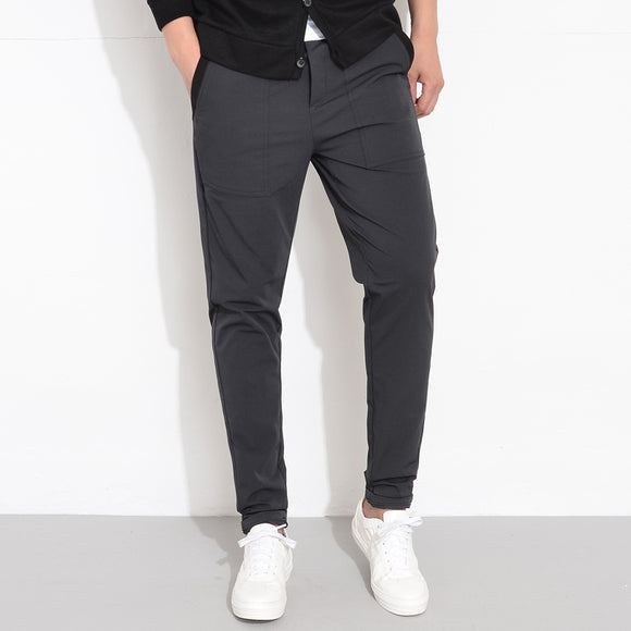 Spring Autumn Men Elastic Waist Stretch Solid Slim Fit Casual Harem Pants