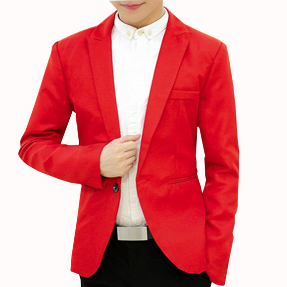 New Autumn Men Single Button Cotton Slin Fit Casual Blazer