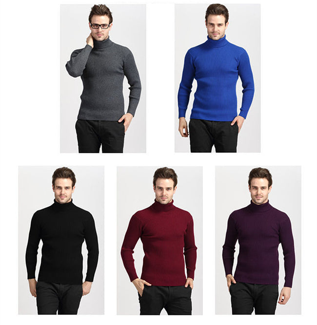 New Winter Mens Turtleneck Solid Color Thick Warm Slim Fit Casual Knitted Sweater