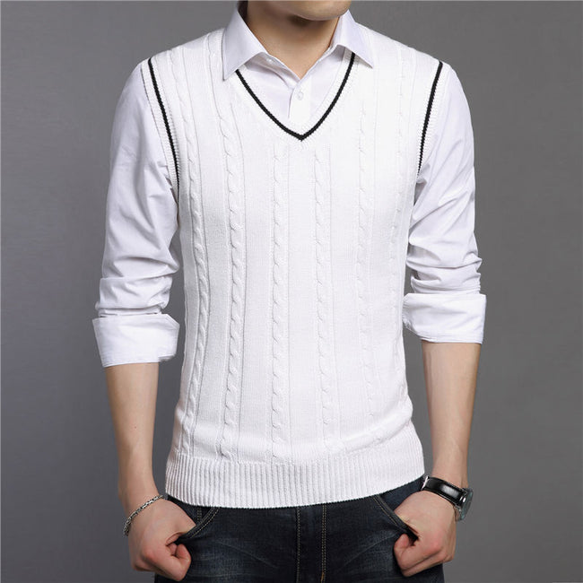 New Autumn Winter Men Classic V-Neck Sleeveless Cotton Knitted Sweater