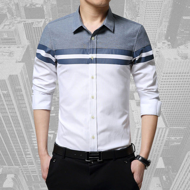 New Autumn Mens Long Sleeve Patchwork Stripe Slim Fit Casual Shirts