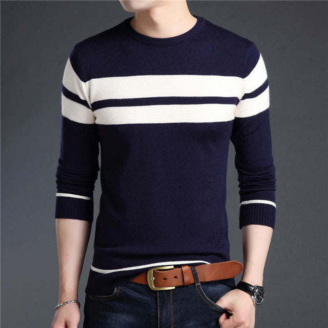 Autumn Winter Men O-Neck Thick Warm Wool Slim Fit Casual Sweater