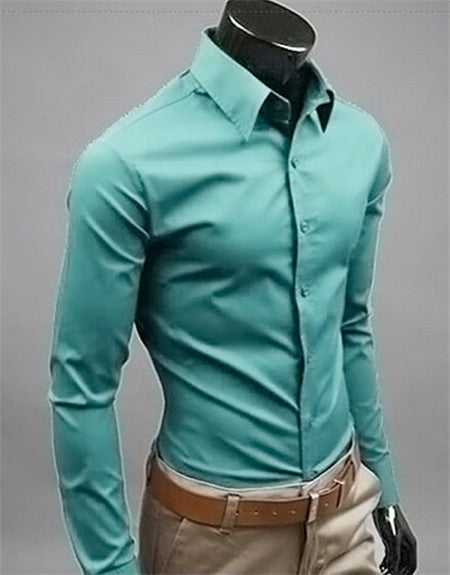 Fashion Mens Long Sleeve Cotton Solid Color Slim Fit Business Formal Shirts