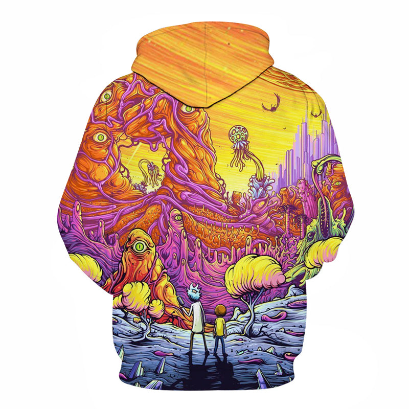 New Mens Rick and Morty 3D Print Hoodies Fashion Game Pullover Thin Sweatshirts