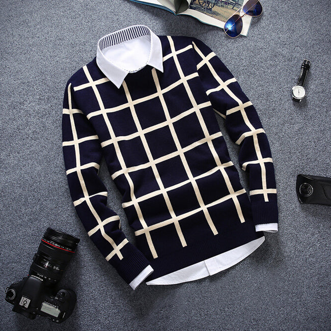 New Spring Autumn Men O-Neck Plaid Thin Wool Cotton Casual Knitted Sweater
