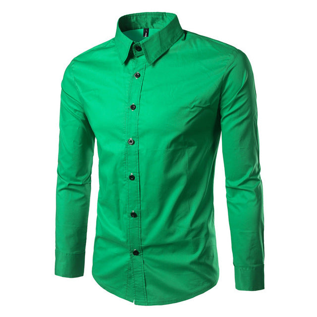 Long Sleeve Turn-down Collar Single Breasted Cotton Solid Color Smart Casual Shirts