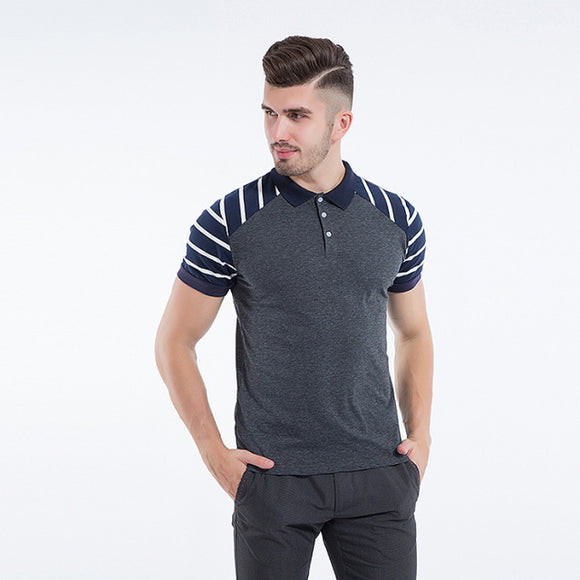 New Summer Men Short Sleeve Striped Polo Shirt Slim Fit Cotton Polos