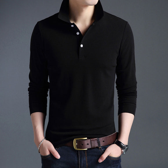 New Fashion Men Long Sleeve Solid Color Polo Shirt Slim Fit Cotton Polos