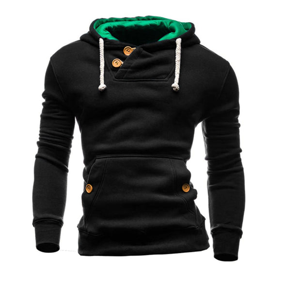 New Fashion Men Long Sleeve Buttons Slim Pullover Sweatshirt O-Neck Solid Hoodies