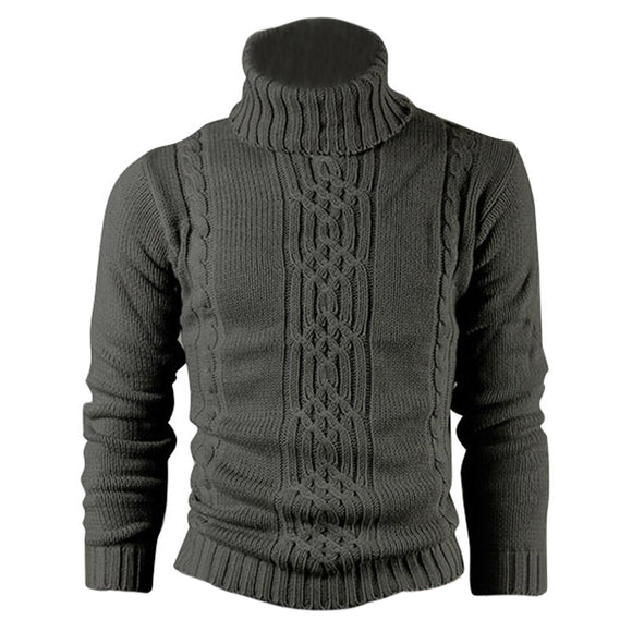 Mens Black/Grey Long Sleeve Turtleneck Print Thin Wool Cotton Casual Knitted Sweater