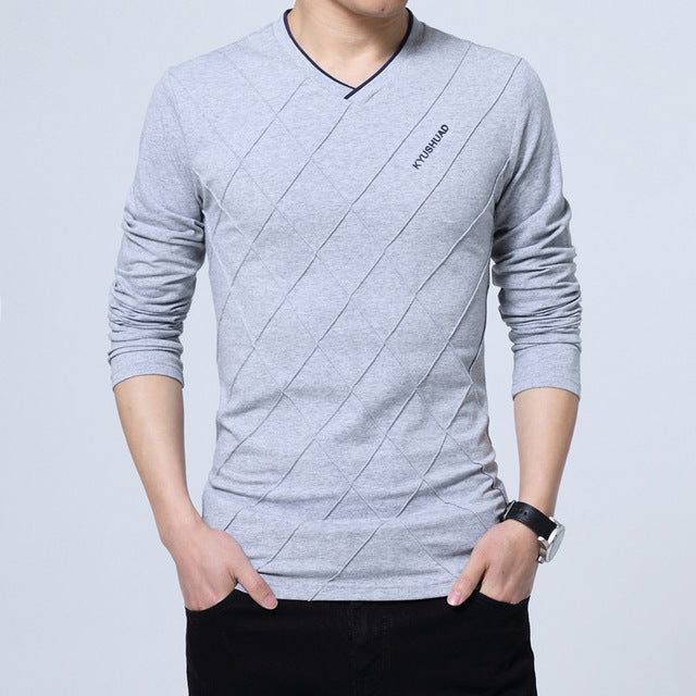 New Spring Autumn Men Long Sleeve V Neck Crease Design Slim Fit Casual T Shirt