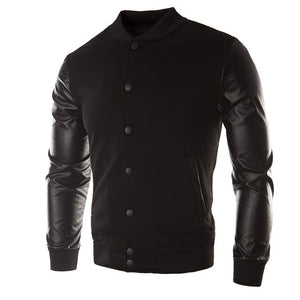 Mens Long Sleeve Mandarin Collar Button PU Leather Patchwork Cotton Casual Basic Jackets