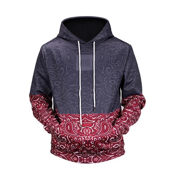 New Men's Floral Stitching 3D Printed Drawstring Hoodies