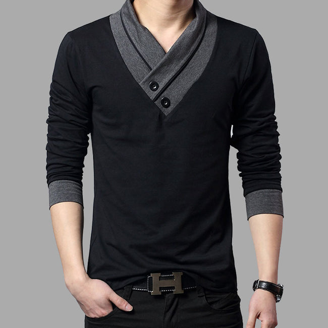 New Autumn Men Long Sleeve Patchwork Collar V-Neck Slim Fit Cotton T Shirts
