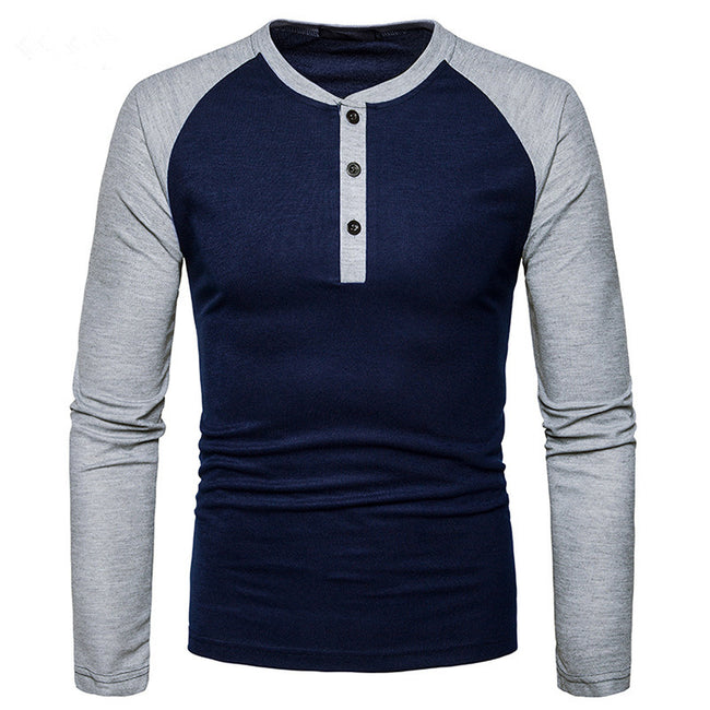 New Autumn Men Long Sleeve O-Neck Button Placket Patchwork Cotton Casual T Shirt