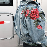 New Autumn Winter Men Long Sleeve Rose Embroidery Hip Hop Jeans Jacket