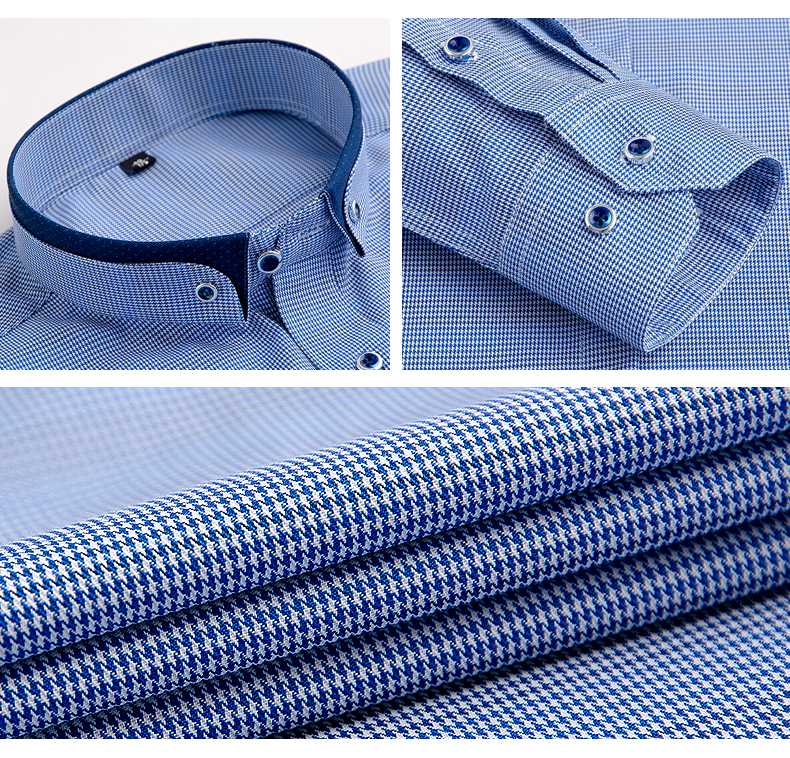 New Autumn Mens Patchwork Collar Button-down Shirts Casual Long Sleeve Striped Plaid Business Dress Shirt