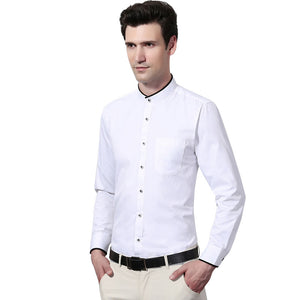 New Men Long Sleeve Mandarin Collar Pure Color Dress Shirts White/Black Soft Party Business Shirt