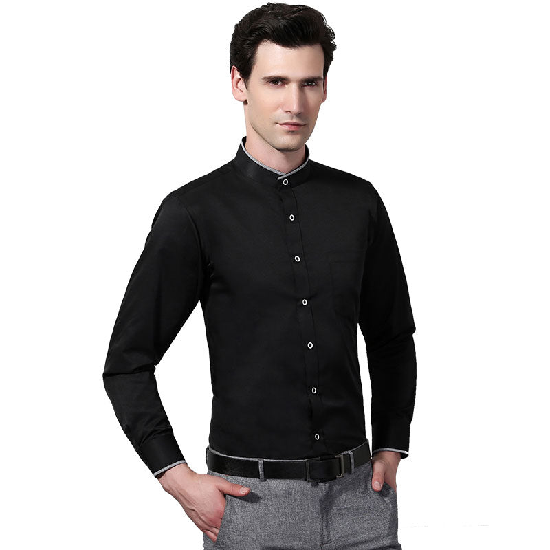 218228c22376a New Men Long Sleeve Mandarin Collar Pure Color Dress Shirts White/Black  Soft Party Business Shirt