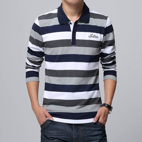 New Autumn Men's Long Sleeved Embroidery Letters Print Stripe T Shirt