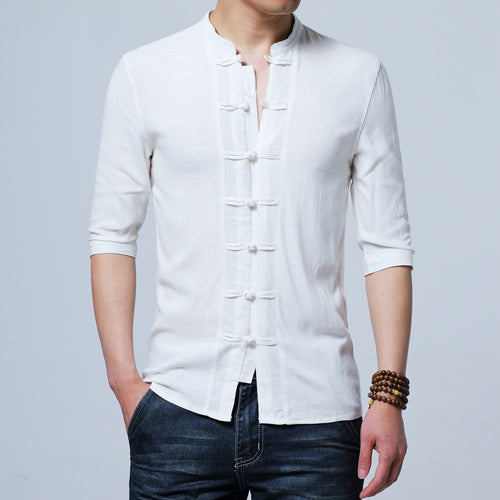 New Summer Men Flax Embroidered Yarn Shirt Long Sleeve Retro Cotton Shirts