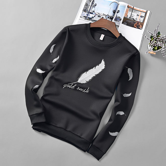 New Arrival Autumn Men Long Sleeve O-Neck Sweatshirts Casual Straight Fit T-Shirt