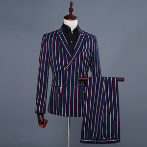 New Men's Double Breasted Two Piece Fashion Blue Stripe Wedding Suits