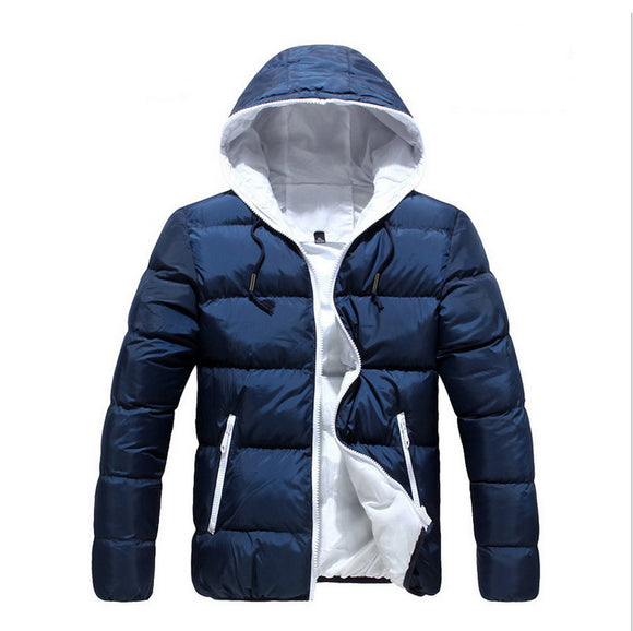 New Mens Zipper Pockets Cotton Thick Warm Simple Casual Hooded Jackets