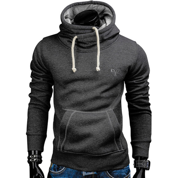 New Fashion Mens Spring Autumn Hoodies Pullover Solid Color Turtleneck Sweatshirt