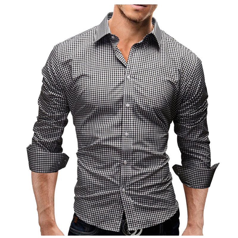 New Fashion Men's Plaid Casual Shirt Slim Fit Long Sleeve Cotton Social Shirts