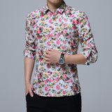 New Fashion Mens Long-Sleeves Small Floral Casual Slim Fit Dress Shirts