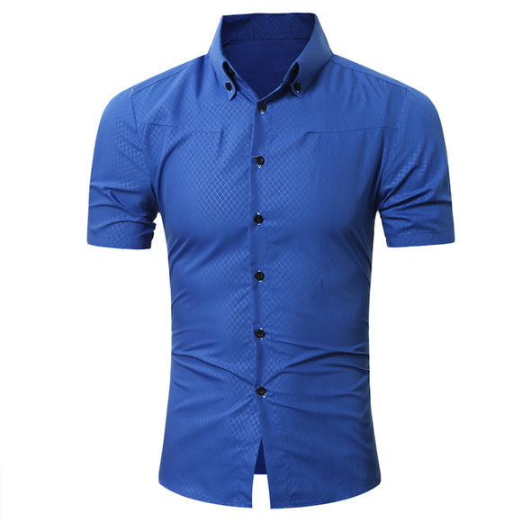 New Fashion Men's Hawaiian Short Sleeves Small Grid Solid Color Slim Fit Dress Shirts