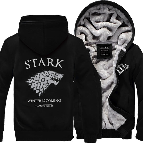 New Autumn Winter Men Game of Thrones House Stark Zipper Hoodies Warm Fleece Thicken Sweatshirt