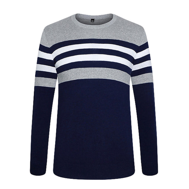New Autumn Winter Black/Green Mens O-Neck Golden Striped Cotton Slim Fit Casual Knitted Sweaters