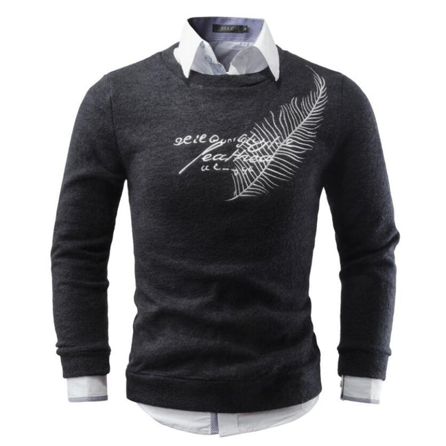 Autumn Winter Men O-Neck Feather Embroidery Cotton Regular Casual Sweater