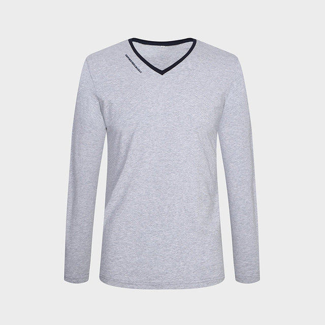 New Spring Autumn Men Long Sleeve V-Neck Slim Fit Cotton Casual T Shirts