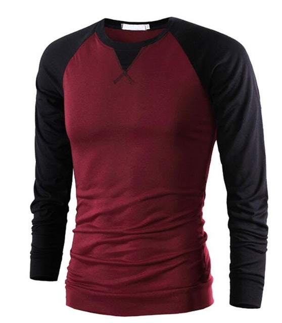 New Spring Autumn Men Long Sleeve O-Neck Patchwork Casual Compression T Shirt