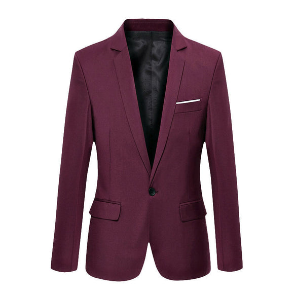 New Arrival Men Classic Solid Color Suit Jackets Cotton Slim Fit Casual Blazer