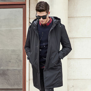 New Spring Winter Men Long Warm Pockets Zipper Loose Windproof Casual Hooded Jacket