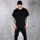 New Mens Black Short Sleeve O-Neck Lace Cross Straps Splicing Streetwear Hip Hop Casual T-Shirt