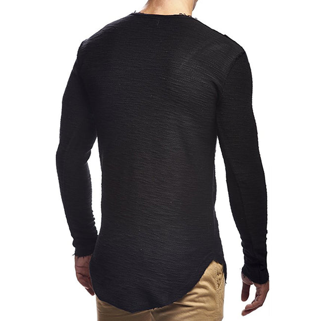 Black/White Mens Long Sleeve O-Neck Splicing Pattern Irregular Hem Stretchy Slim Fit Casual T-Shirt