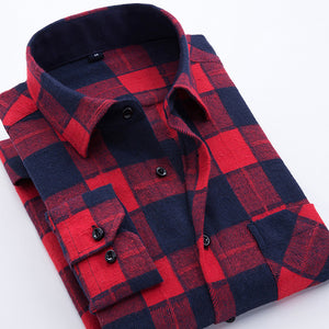 Mens Long Sleeve Turn-down Collar Plaid Flannel Shirt Pocket Slim-fit Comfortable Casual Shirts