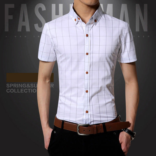 New Summer Mens Short Sleeve Shirt Plaid Slim Fit Cotton Casual Shirt