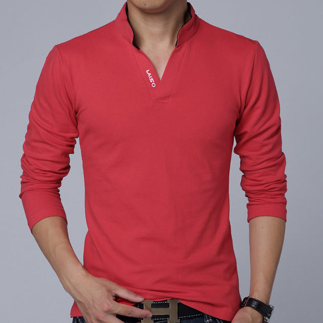 New Autumn Men Long Sleeve Mandarin Collar Solid Color Slim Fit Casual T Shirt