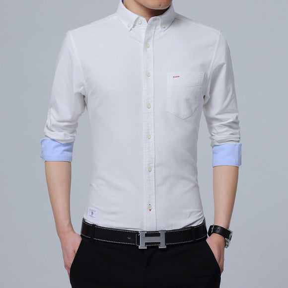 New Fashion Men's Long Sleeves Shirts Solid Color Slim Fit Cotton Casual Social Shirt