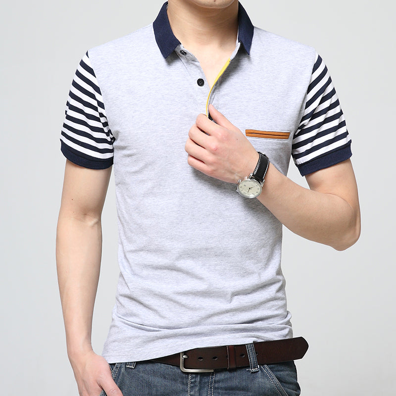 New Men Short Blue Striped Sleeve Cotton Slim Business Polo Shirt