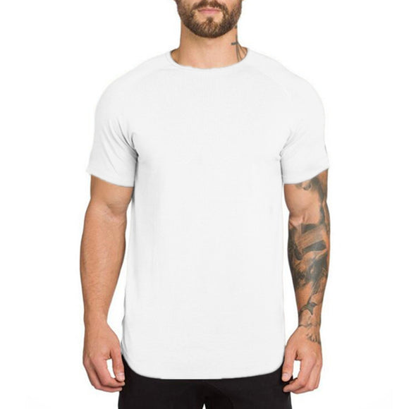 New Summer Men Short Sleeve O-Neck Extend Fitness Hip Hop Cotton T Shirt