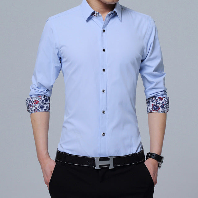 New Fashion Mens Shirts Slim Fit Solid Square Collor Long Sleeve Shirts